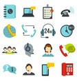 call center symbols set flat icons vector image