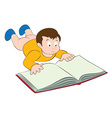 kid with the book vector image