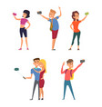 different funny characters make selfie on their vector image