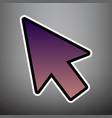 arrow sign violet gradient vector image vector image