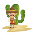 background cactus with man mexican vector image vector image