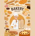bakery shop menu baker and pastry food vector image vector image