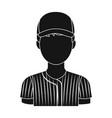 baseball player baseball single icon in black vector image vector image