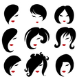 black hair styling for woman vector image vector image