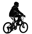 Boy riding a bicycle in black and white vector image vector image