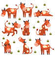 brown spotted cow set farm animal character