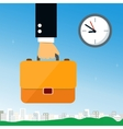 Business hand holding briefcase vector image