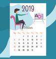 calendar 2019 october calendar calendar vector image vector image
