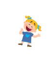 cartoon character of a cheerful girl vector image vector image