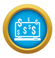 computer monitor and dollar signs icon blue vector image vector image