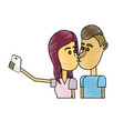 couple kissing and taking selfie with smartphone vector image
