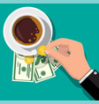 cup with coffee cash and coins vector image