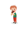 cute boy licking ice cream cartoon vector image