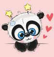 cute cartoon panda with big eyes vector image vector image