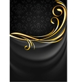 Dark gray fabric curtain background Gold vignette vector image