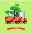 delivery truck in flat vector image vector image