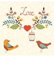 Elegant love card with birds and floral wreath vector image vector image