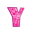 english pink letter y on a white background vector image vector image