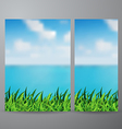 field of green grass and beautiful sea view vector image vector image