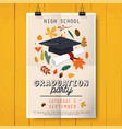 graduation party poster with graduation cap vector image vector image