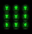 green neon mans avatar set virtual character vector image