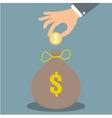 hand put money in bag vector image vector image