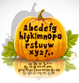 Happy Halloween cut out pumpkin small letters vector image