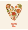 Heart made of flowers Doodle style vector image vector image