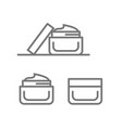 jar cream skin care flat line icons set vector image