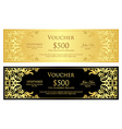Luxury golden and black voucher with vintage vector image vector image