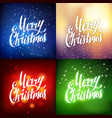 merry christmas hand lettering greeting card set vector image