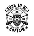 nautical emblem with bearded skull and text vector image vector image