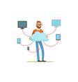 network engineer administrator working in data vector image vector image