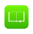 open book with bookmark icon digital green vector image vector image
