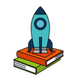pile text books with rocket vector image vector image