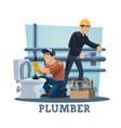 plumbers with work tools plumbing service workers vector image vector image