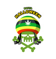 Rasta Halloween Night Skull addict with dreadlocks vector image