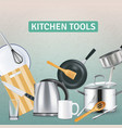realistic kitchen supplies background vector image vector image