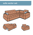 realistic sofa set with armchair isolated on white vector image
