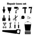 repair black icons set tools images vector image vector image