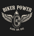 ride or die motorcycle wheel with wings vector image vector image