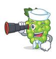 sailor with binocular green grapes mascot cartoon vector image vector image