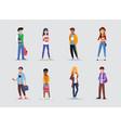 schoolchildren characters students vector image