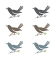 Set of of spring birds in branches with leaves vector image vector image