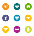 sexy lingerie icons set flat style vector image vector image