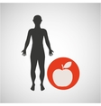 silhouette man fitness healthy food vector image vector image