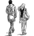 sketch young couple vector image vector image
