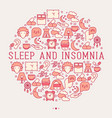 sleep and insomnia concept in circle vector image vector image