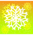 snowflake on yellow background vector image vector image