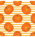 striped seamless pattern with tangerine slices vector image vector image